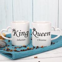Paartassen - King & Queen - mit Ihren Namen