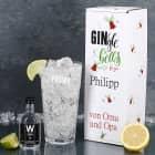 Wuestefeld Gin mit graviertem Gin-Glas in bedruckter Geschenkverpackung für be-gin-liche Weihnachten