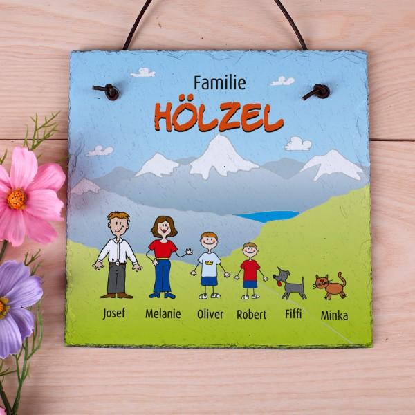 Schieferplatte - Familie im Urlaub