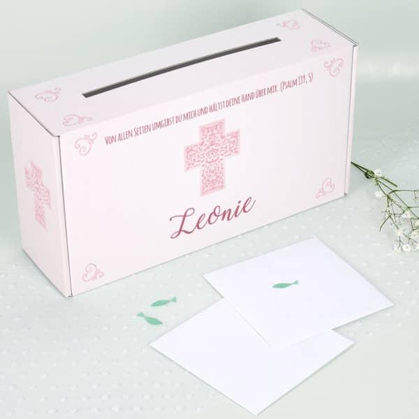 Bedruckte Briefbox zur Taufe mit Wunschname