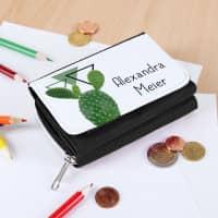 Geldbörse für Schüler mit dem Namen und Kaktus-Motiv