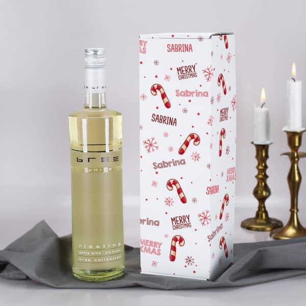 BREE Weinflasche mit weihnachtlicher Flaschenverpackung