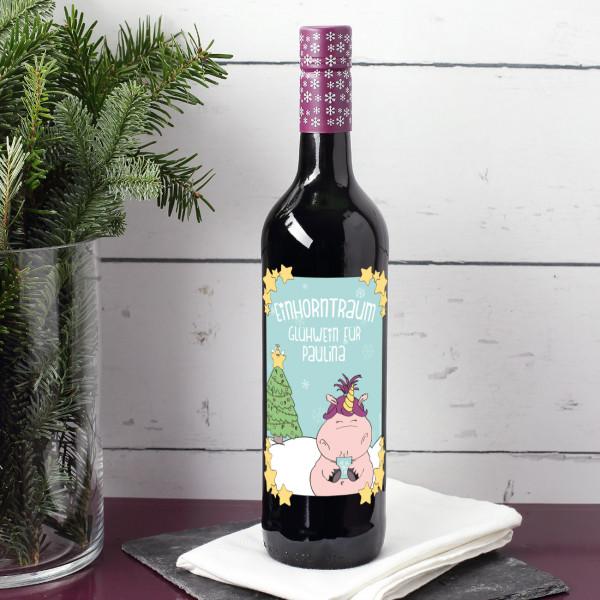 Einhorntraum Glühwein mit Knuddelhorn und Ihrem Namen