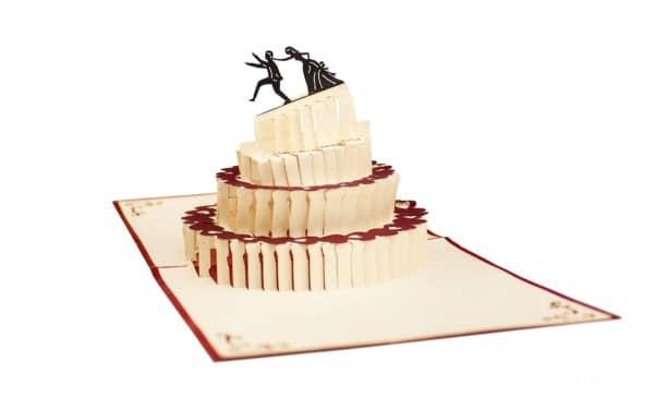 Pop-Up-Glückwunschkarte zur Hochzeit - verrückte Hochzeitstorte