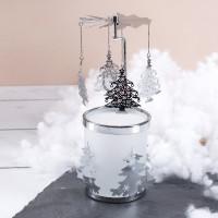Rotierender Teelichthalter - Tannenbaum in Silber