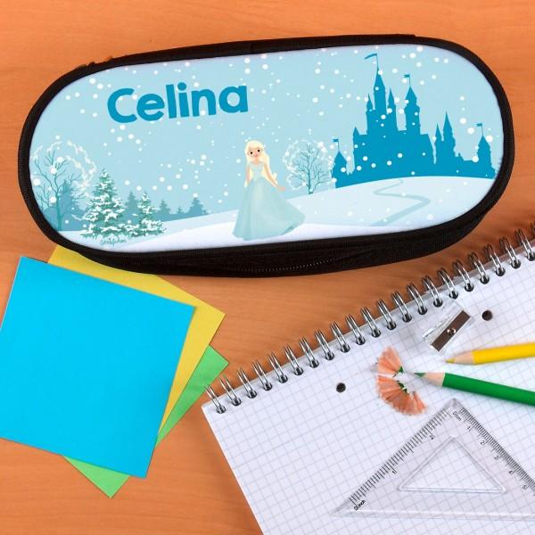 Praktische Stiftebox mit Wunschname und Eisprinzessin