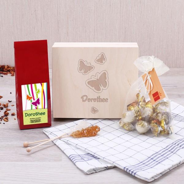 Komplettes Tee-Geschenkset mit Ihrem Wunschnamen