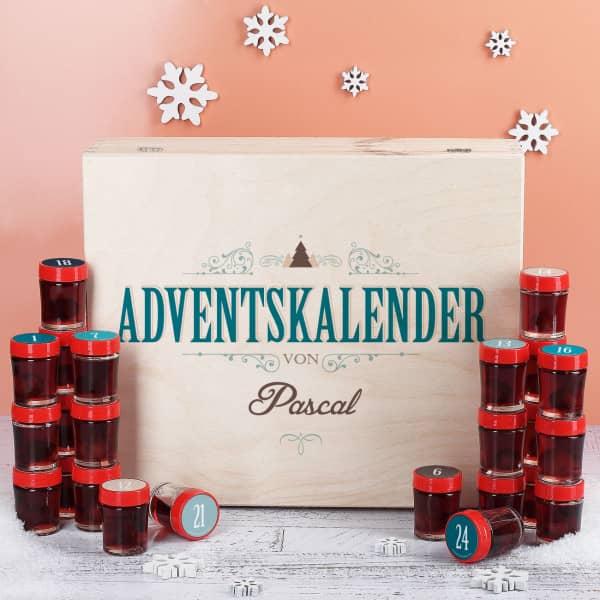 Individuellleckereien - Adventskalender mit 24 Einkochglas Schnäpsen in persönlicher Holzbox - Onlineshop Geschenke online.de