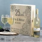 Weißwein Geschenkset zur Silberhochzeit mit Maybach und 2 gravierten Gläsern
