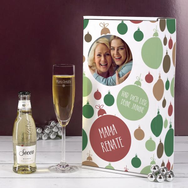 Persönliche Geschenkverpackung mit graviertem Glas und Secco