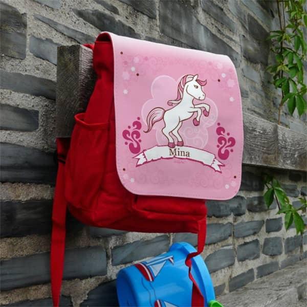 Kindergartenrucksack für Mädchen mit Pony-Motiv und Name