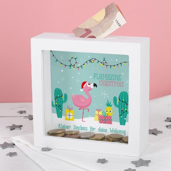 Flamingo Spardose zu Weihnachten