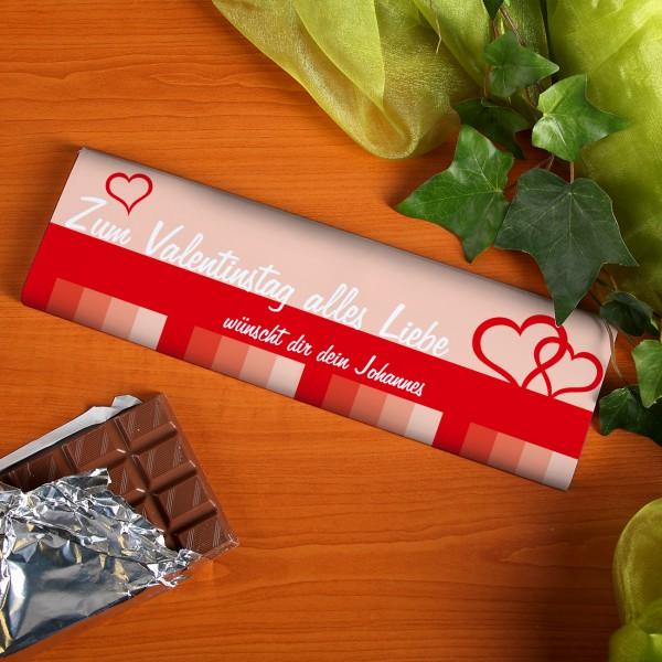 300g Schokolade zum Valentinstag mit Ihren Wunschtext