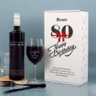 Weinset zum 80. Geburtstag mit Weinglas in bedruckter Geschenkverpackung