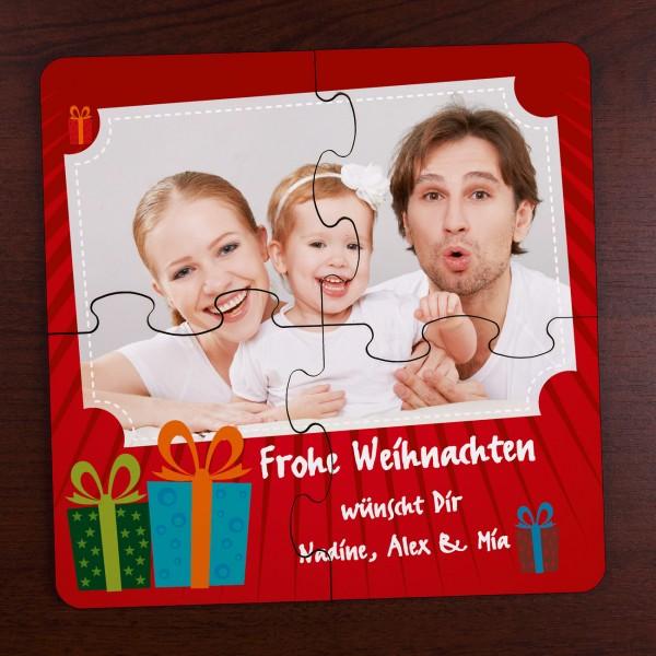 Weihnachtliches Untersetzer Puzzle mit Foto und Text