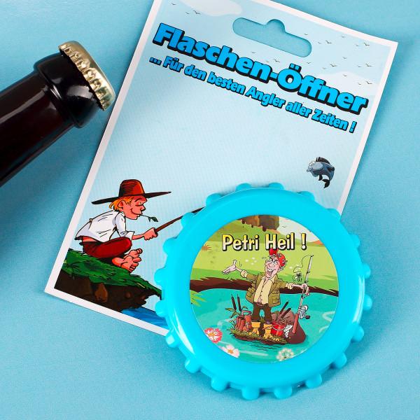 Blauer Kronkorken-Öffner für Angler