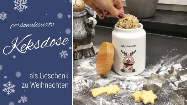 Keksdose mit Personalisierung als Geschenk zu Weihnachten