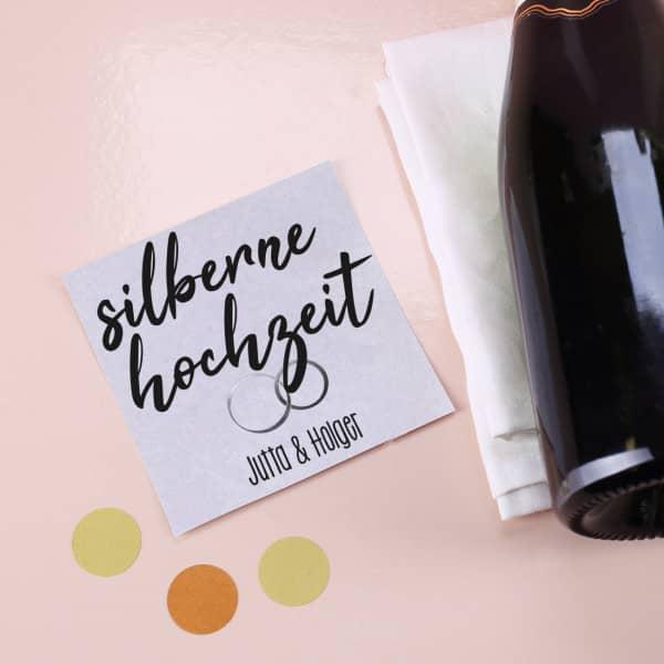 Silberne Hochzeit - Flaschenaufkleber