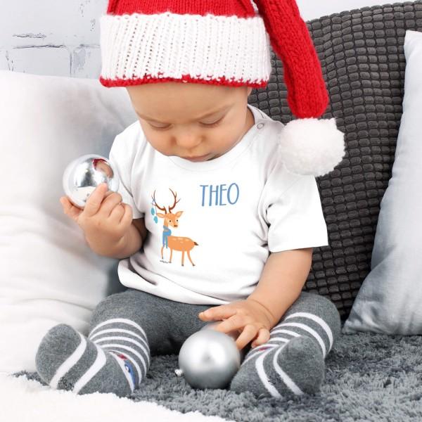 Weißes Babyshirt mit Rentier und Wunschname