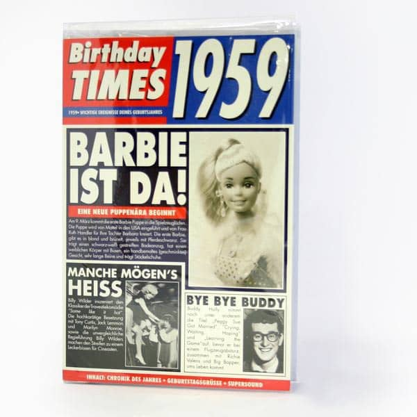 Birthday Times Karte mit Sound 1959