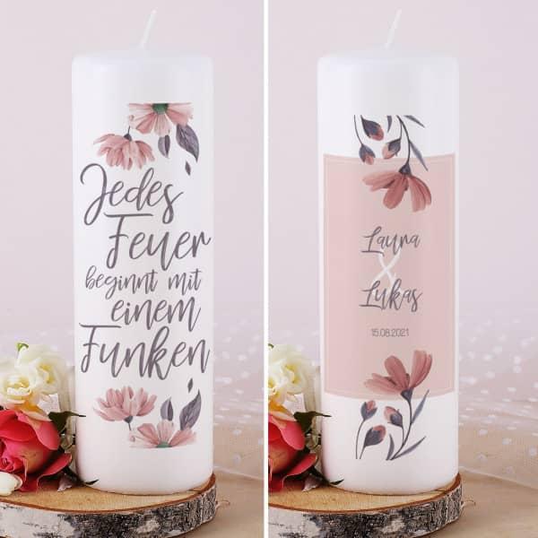 Hochzeitskerze mit tollem Blumenmotiv