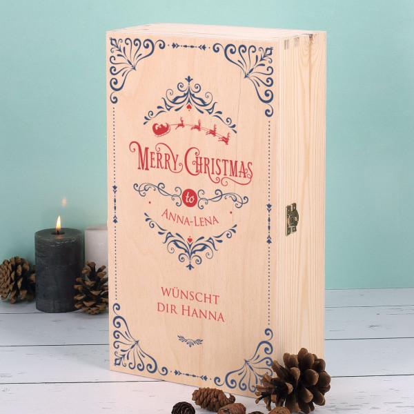 Holzbox zu Weihnachten mit Merry Christmas-Motiv und Personalisierung