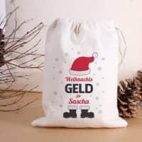 Kleiner Geschenksack für Weihnachtsgeld mit Name personalisiert