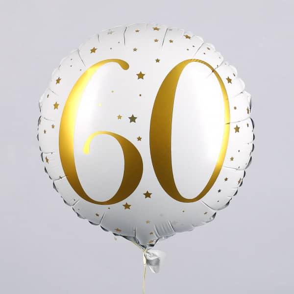 Folienballon zum 60. Geburtstag in weiß