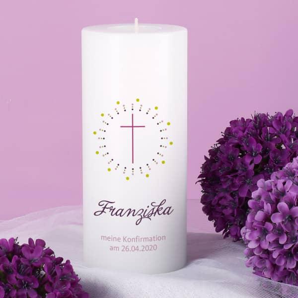Nützlichdekoration - Konfirmationskerze inkl. Teelicht für Mädchen - Onlineshop Geschenke online.de