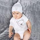 Persönliches Babygeschenk - Weißer Body und Mütze mit Teddybär und Name