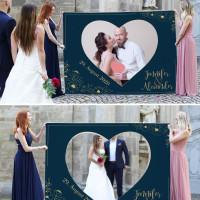 Dunkelblaues Fotobanner zum Ausschneiden für das Brautpaar
