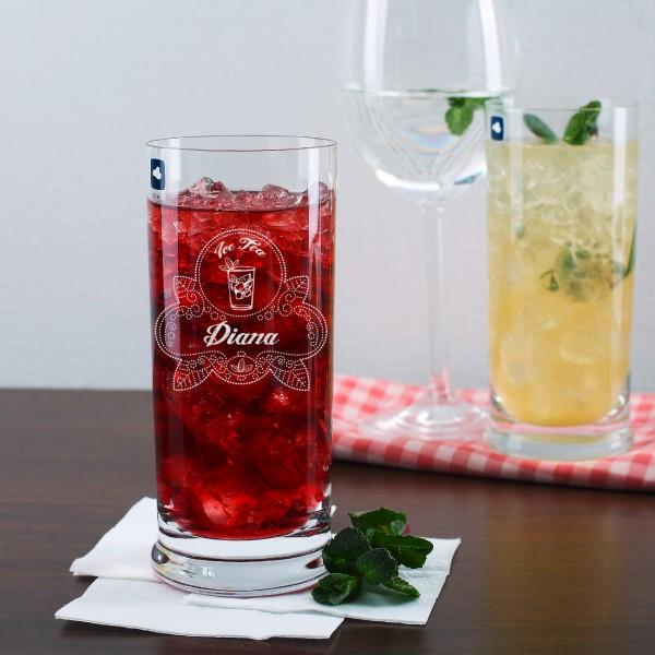 Ice Tea Trinkglas mit orientalischen Muster und Namensgravur