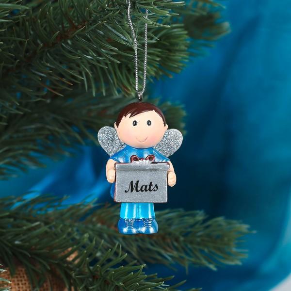 Kleiner Schutzengel Junge mit Geschenk und Name