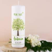 Grüne Lebensbaum Taufkerze mit Name, Datum und Taufspruch