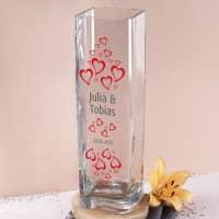 Bedruckte Glasvase mit Herzen, Wunschnamen und Datum
