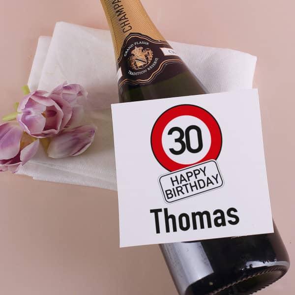 Flaschenaufkleber mit Verkehrszeichen, Name und Alter