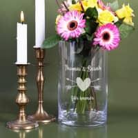 Edle Vase mit Herz und Wunschtext graviert
