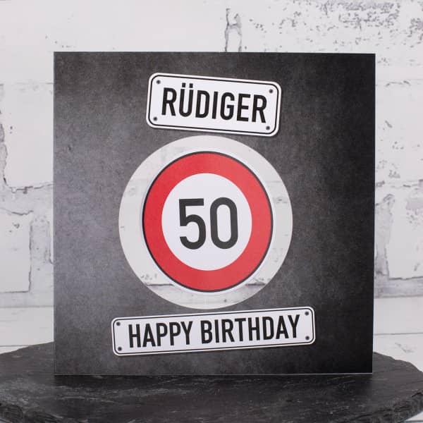 Happy Birthday - Glückwunschkarte mit drehbarem Verkehrsschild, Name und Wunschtext