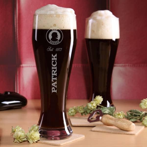 Graviertes Weizenglas Bier - Kenner mit Name und Geburtsjahr