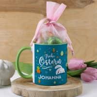 Frohe Ostern - Tasse mit Name und Lindt Schokoladenherzen