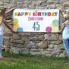 Buntes Happy Birthday Geburtstagsbanner mit Name und Alter