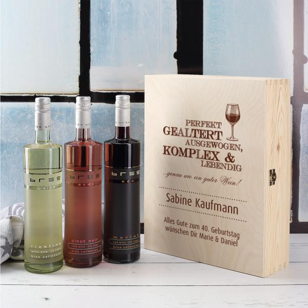 Geschenkbox mit 3 Weinen und personalisiertem Aufdruck