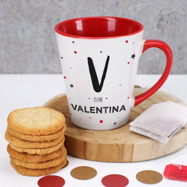 Tasse mit Henkel und Innenseite in Rot mit Initial und Name personalisiert