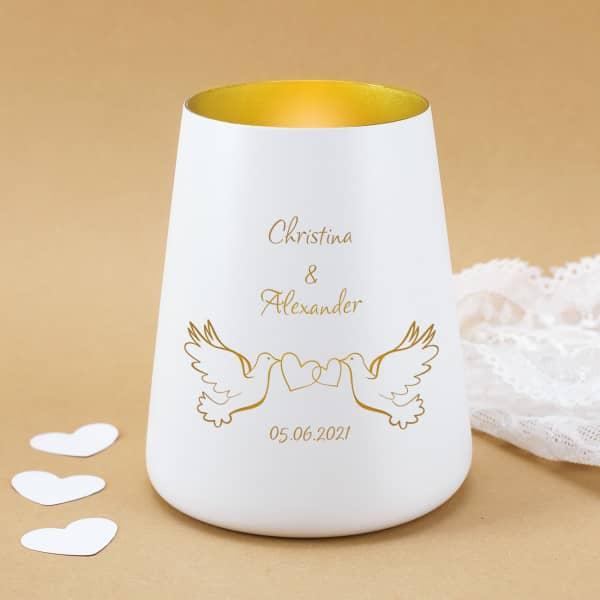 Windlicht mit Tauben zur Hochzeit personalisiert mit Namen und Datum