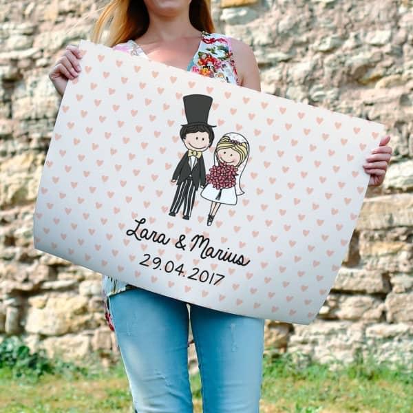 Banner zur Hochzeit mit Brautpaar, Namen und Datum