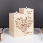 Vatertagsgeschenk - Teelichthalter aus Holz mit graviertem Herz & Wunschtext
