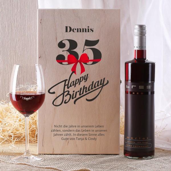 Weinset in Holzbox zum 35. Geburtstag