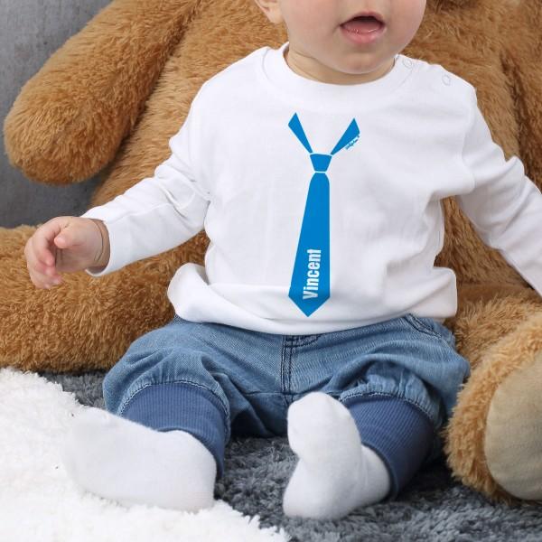 Weißer Babypullover mit schicker Krawatte bedruckt