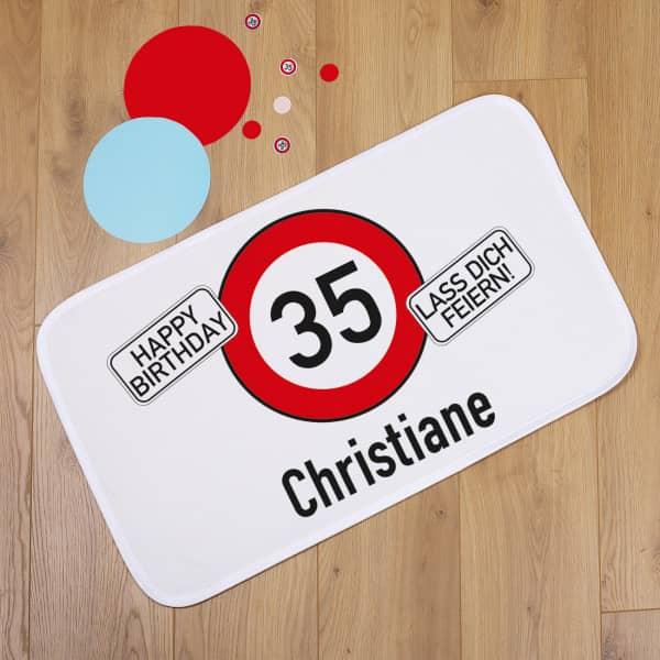 Türvorleger zum Geburtstag mit Verkehrszeichen