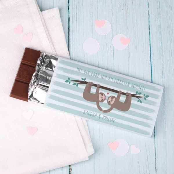 Schokolade mit Faultier-Pärchen, Wunschtext und Namen